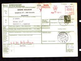 DANEMARK  Bulletin Expédition Colis Postal Gentofte 17-5-78 Mixte EMA 92.00 Ore Pour MADRID Paquetes Postales  2 Scan - Colis Postaux