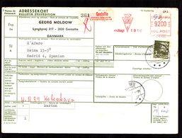 DANEMARK  Bulletin Expédition Colis Postal Gentofte 1978 Mixte EMA 92.00 Ore Pour MADRID Paquetes Postales  2 Scan - Colis Postaux