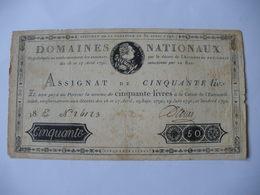RARE ASSIGNAT 50 LIVRES EFFIGIE ROYALE 30/04/1792 LAFAURIE 153 - Assignats