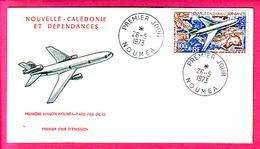 ENVELOPPE AVIATION PREMIER JOUR NOUMEA PREMIERE LIAISON NOUMEA PARIS PAR DC 10 26-5-1973 - Lettres & Documents