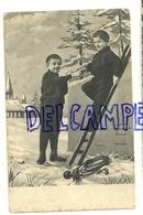 Photographie Montage. Deux Petits Ramoneurs, Pipe, échelle. 1907 - Personnages