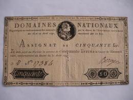 RARE ASSIGNAT 50 LIVRES EFFIGIE ROYALE 31/08/1792 LAFAURIE 157 - Assignats