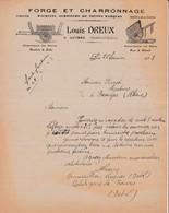 37 LUYNES COURRIER 1923 Forge Et Charronnage Machines Agricoles Louis DREUX X31 Indre Et Loire C/ SAINT CYR SUR LOIRE - France