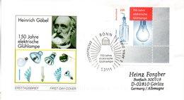"""BRD Schmuck-FDC  """"150 Jahre Elektrische Glühlampe"""", Mi. 2395 ESSt 7.4.2004 BONN - BRD"""