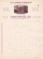 21 SAULIEU COURRIER 1935 Aux Jardins D' Espagne Fruits  Légumes Joseph MAYOL X31 Côte D' Or - France