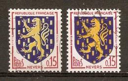 1962-65 - Armoiries De Villes - Nevers - Nuances - N°1354 - Errors & Oddities