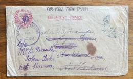 ON ACTIVE SERVICE  AIR MAIL TRANS TASMAN  23/1/1944  PASSED BAY CENSOR U ALTRI TIMBRI - Militaria
