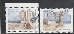 FRANCE 2017 ISSU BLOC FRANCE CANADA BATAILLE DE VIMY OBLITERE YT 5136 + 5137 - France