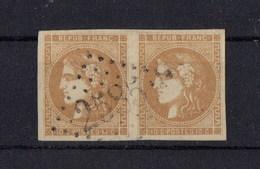 FRANCE EMISSION DE BORDEAUX   N° 43A   EN PAIRE   SIGNEE BRUN - 1870 Bordeaux Printing