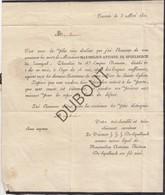 Doodsbrief Maximilien Antoine De Spoelberch De Lovenjoul/Lovenjoel / Lakzegel °1745 †1821 Leuven (N25) - Décès