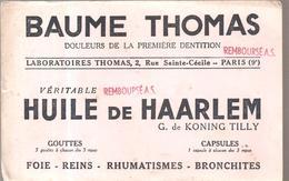 Buvard Beaume Thomas Huile De Haarlem Laboratoires Thomas 2, Rue Sainte Cécile Paris 9 ème - Produits Pharmaceutiques