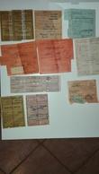 PICCOLO LOTTO DI TITOLI DI VIAGGIO E BIGLIETTI TRA FINE ANNI '40 E ANNI '50 CIRCA - Titres De Transport