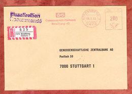 Einschreiben Reco, Absenderfreistempel, Genossenschaftsbank Strassberg, 280 Pfg, 1985 (69806) - Machine Stamps (ATM)