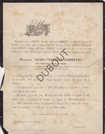 Doodsbrief Henri François Cammaert °1787 Huizingen †1866 Neder-over-Heembeek/Ancien Bourgmestre/ M-T Van Pevenage (N34) - Obituary Notices