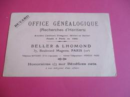 Buvard/Généalogie/ BELLER & LHOMOND /Bd Magenta Paris / Office Généalogique/  /Vers 1900-1930      BUV376 - Banque & Assurance