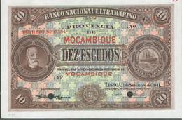BANKNOTES -MOZAMBIQUE--10 ESCUDOS- CHAMIÇO--1 SETEMBRO 1941--UNC- -ESPÉCIMEN-WITH  HOLES   NEW  195€-NOW--165€ - Mozambique
