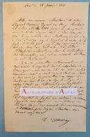 L.A.S 1835 - DEMARCAY - Signataire à Identifier - à M. Charles COQUEREL - Lettre Autographe Paris Darlincourt - Autographes