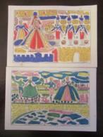 2 Cartes De Voeux Edition Croix-Rouge Française - Imagerie Pellerin, Epinal - Illustrées Par Claude Allier - 1956 - Vieux Papiers