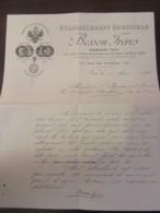 Document Commercial De L'Etablissement Horticole Besson Frères à Nice Daté Du 9 Mai 1898 - France