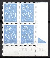 Col12 France Coin Daté Marianne Lamouche  N° 3737 / 3719  Neuf XX MNH Luxe - Dated Corners