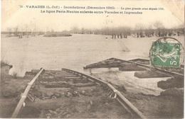 Dépt 44 - VARADES - Inondations (1910) - La Ligne Paris-Nantes Enlevée Entre Varades Et Ingrandes - (VASSELLIER N° 70) - Varades