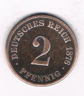 2 PFENNIG  1876  C DUITSLAND /1465/ - [ 2] 1871-1918 : Empire Allemand