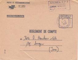 Cachet Nouméa R.P.1 Surtaxe Aérienne Perçue En Numéraire ,sur Lettre PTT De 1968 - Nouvelle-Calédonie