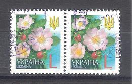 Ucrania 2006-Flores De Ucrania-2 Sellos Usados Y Circulados - Ucrania