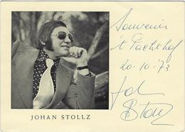 JOHAN STOLLZ, 20/10/1973, MET HANDTEKENING, AVEC AUTOGRAPHE - Chanteurs & Musiciens