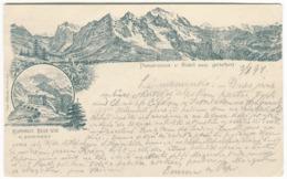 KLEINE SCHEIDEGG Kurhaus Belle-Vue Panorama Mehrbildkarte Geschickt 1894 Zugstempel WENGERNALP-SCHEIDEGG - BE Berne