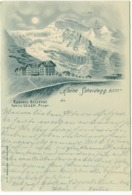 KLEINE SCHEIDEGG Kurhaus Bellevue Panorama Familie Seiler 1898 Zugstempel WENGERNALP-SCHEIDEGG - BE Berne