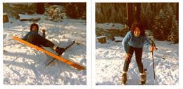 2 Photos Carrées Couleurs Originales Sports D'Hiver Rigolade Et Chute à Skis Pour Madame Qui à Mal Aux Fesses 1960's - Sports