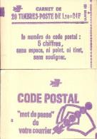 "CARNET 2101-C 1 Sabine De Gandon ""CODE POSTAL"" Carnet De 20 Timbres Fermé Bas Prix RARE. - Usage Courant"