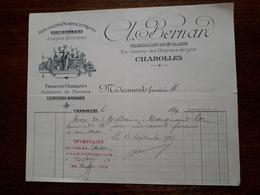 Ancien Document Commercial. Charolles.Spécialités Pharmaceutiques. A.Bernard.Pharmacien De 1ere Classe. 1905 - France