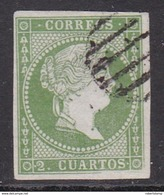 ESPAÑA 1855 - Isabel II Sello Usado 2 Cu. Verde Edifil Nº 47 - 1850-68 Kingdom: Isabella II