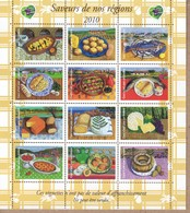 FEUILLET GOMME SAVEURS DE NOS REGIONS 2010 (Sans Valeur D'affranchissement) - Abarten Und Kuriositäten
