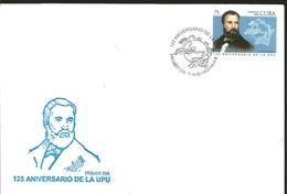 J) 1999 CUBA-CARIBE, 125th ANNIVERSARY OF THE UPU, UNIVERSAL POSTAL UNION, HENRICH VON STEPHAN, FDC - Cuba