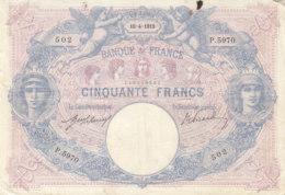 Billet 50 F Bleu Et Rose Du 10-4-1915 FAY 14.28 Alph. P.5970 - 1871-1952 Anciens Francs Circulés Au XXème