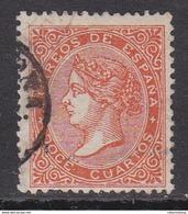 ESPAÑA 1868 - Isabel II Sello Usado 12 Cu. Bermellón Edifil Nº 100a - 1850-68 Reino: Isabel II