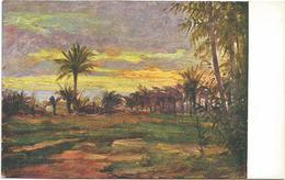 W1249 Libia - Tripoli - Tramonto Nell'oasi - Giovanni Rava Dipinto Paint Peinture Illustrazione Illustration - Libia