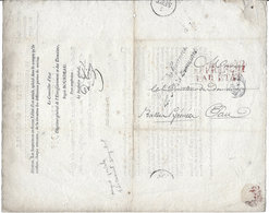 LETTRE  ANCIENNE 1828 +MARQUE POSTALE < DIRECTION ENREGISTREMENT DOMAINES < Dir.ection DOMAINE PAU - Old Paper