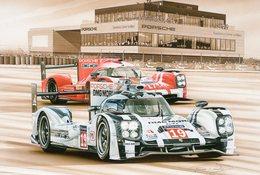 Porsche 919 Hybrid - 24 Heures Du Mans 2015 - Pilotes:Hulkenberg/Tandy -  Tableau De Francois Bruere (Art Card)  -  CPM - Le Mans