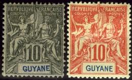 French Guiana. Sc #37-38. Unused. - Unused Stamps
