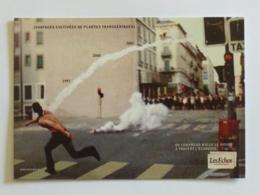 MANIFESTATION - Homme Lance Fumigène - Carte Publicitaire Quotidien / Journal Les Echos - Demonstrations
