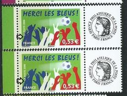 [29] Variété :  N° 3936A Personnalisés Merci Les Bleus Offset + Helio  ** - Variétés Et Curiosités