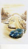 Ford GT40 - 24 Heures Du Mans 1966 - Pilotes: McLaren/Amon -  Tableau De Francois Bruere (Art Card)  -  CPM - Le Mans
