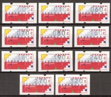 1991-1993 Automaatstroken Voor ATM Klussendorf-automaat 5c, 10 C, 60c, 70c, 80c, 160c, 180c, 190c, 240c, 270c, 320c MNH/ - Paesi Bassi