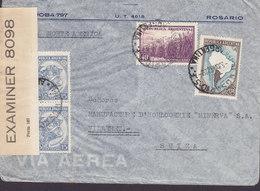 Argentina Via Norte America ROSARIO 1942 Cover Letra VILLARET Suisse P.C. 90 OPENED BY EXAMINER '8098' (American Censor) - Argentine
