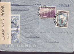 Argentina Via Norte America ROSARIO 1942 Cover Letra VILLARET Suisse P.C. 90 OPENED BY EXAMINER '8098' (American Censor) - Argentina