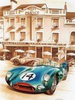 Aston Martin DBR1 - 24 Heures Du Mans 1956 - Pilotes: Parnell/Brooks  -  Tableau De Francois Bruere (Art Card)  -  CPM - Le Mans